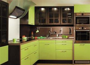 Фото оливково-коричневой кухни