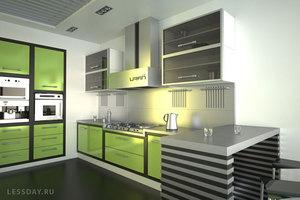 Хай тек кухня оливковая