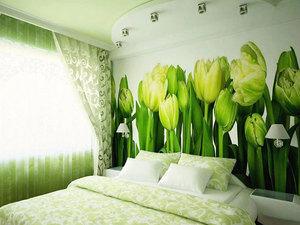 Зелёные тюльпаны фотообои