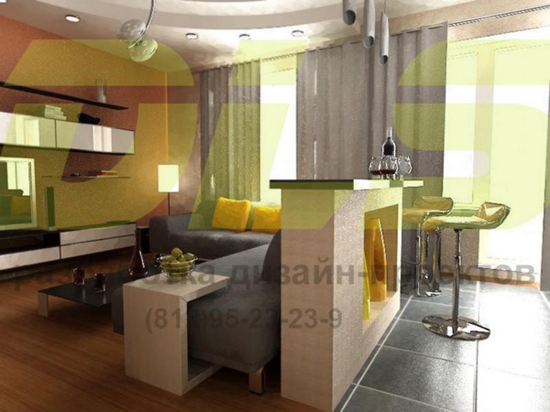 Совмещение гостиной с кухней фото: дизайн интерьера, деление.