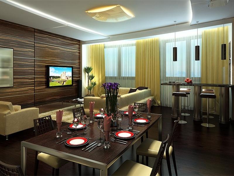 Кухня гостиная столовая интерьер фото