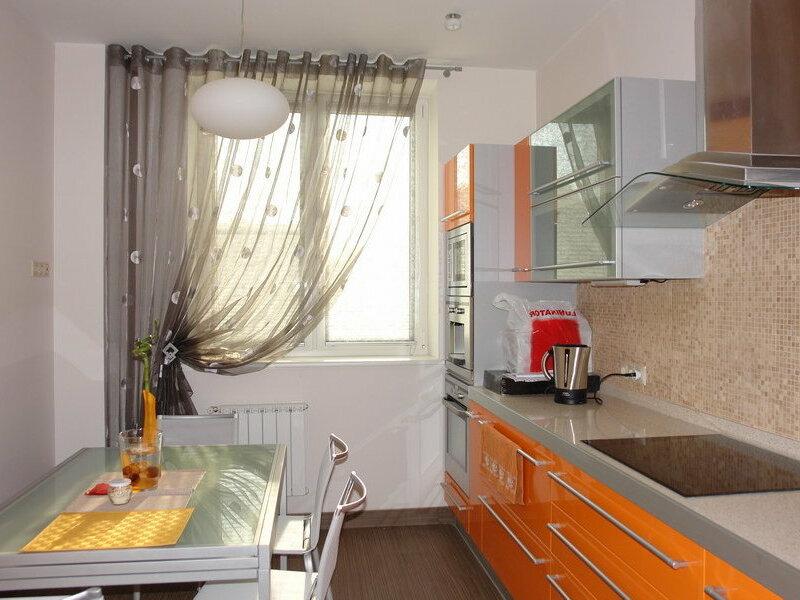 Длинные шторы для кухни фото