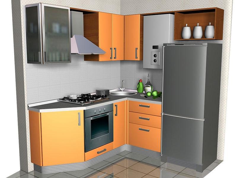 Дизайн угловой кухни с газовой колонкой