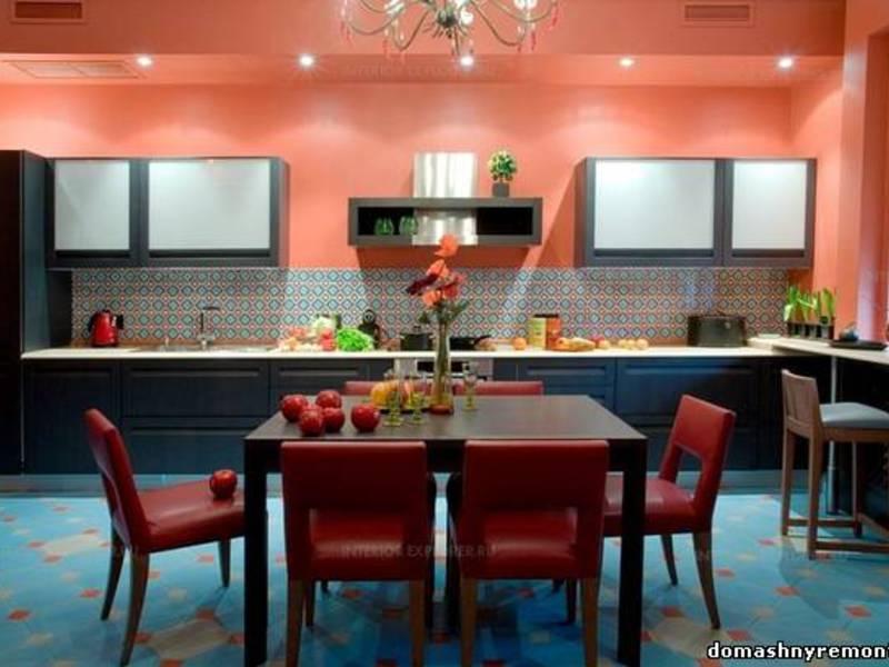 Сочетание цветов на кухне фото интерьера